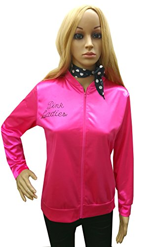 Costumes Danny Grease Dress Fancy (CSG 50's Women's Grease T-Bird Danny Pink Ladies Jacket Costume Fancy Dress with)