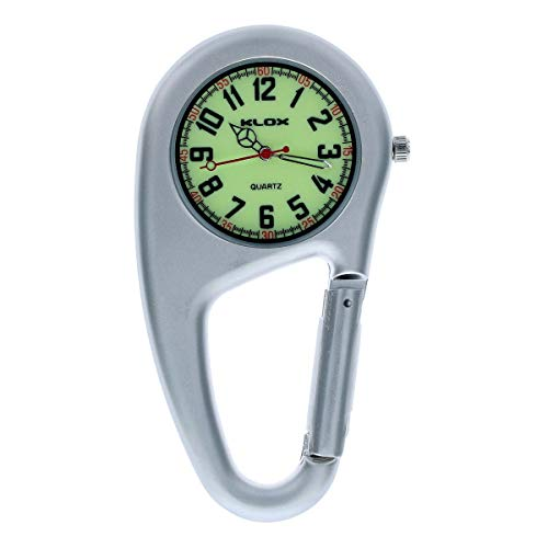 Klox Unisex-Adult Clip On Carabiner Fob Watch Luminous Dial Ideal Doctor Nurse Extra Battery Silver
