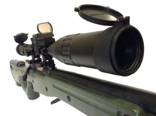 Ledsniperriflescope 6-24x50 Aoe Red & Green & Blue Illuminated Mil-dot Adjustable Intensified Rifle Scope + Sunshade + Flip-up Caps + Rail Mounts