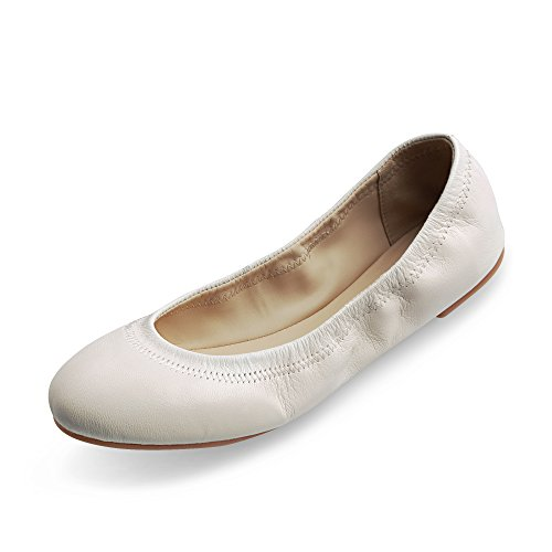 Xielong Women's Chaste Ballet Flat Lambskin Loafers Casual Ladies Shoes Leather White 7.5