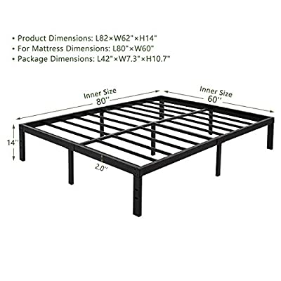 45Min 14 Inch Platform Bed Frame/Easy Assembly Mattress Foundation/Heavy Duty Steel Slat/Noise Free/No Box Spring Needed, King/Queen/Full/Twin