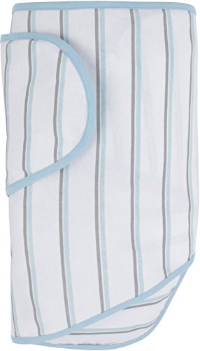 Miracle Blanket Swaddle, Blue and Grey Stripes