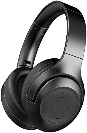 abingo Active Noise Cancelling Headphones Wireless BT30NC Deep Bass with Microphone, Bluetooth Headphones Over Ear, Comfort Protein Ear Pads, 26H Play Time for Travel Work Cellphones, Black