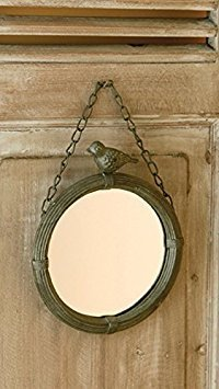 Shabby Cottage Chic Wall Mirror with Bird Home Decor