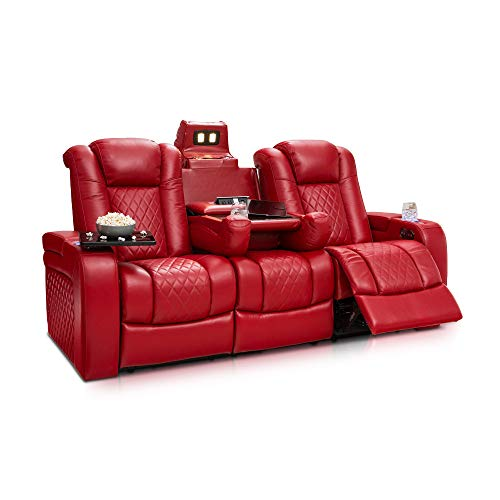 Cheap Seatcraft Anthem Home Theater Seating Leather Multimedia Power Recline Sofa with Drop-Down Table, Powered Headrests, Storage, and Cupholders (Red)