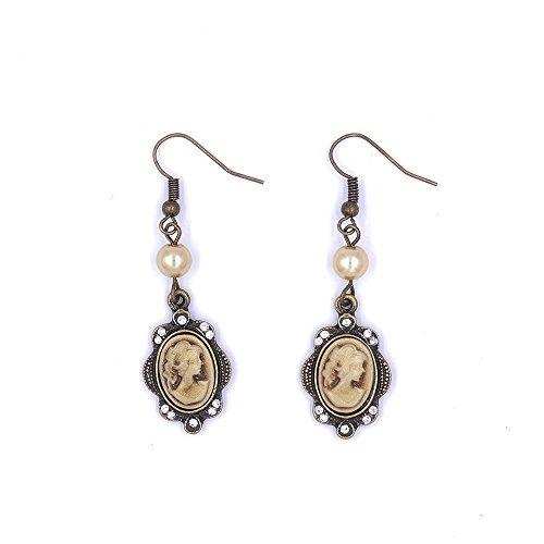 Vintage Cameo Dangle Earrings Gold Cream Pink White Pearl Rhinestone Antique Bronze