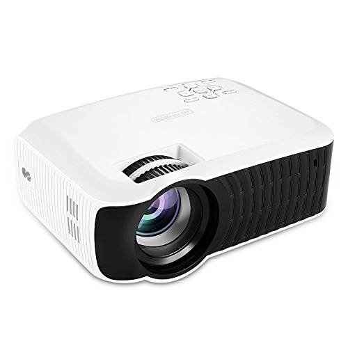 NiocTech 2200 Lumens LCD Mini HD Projector, Multimedia Home Theater Video Projector Support 1080P HDMI USB SD Card VGA AV for Home Cinema TV Laptop Game iPhone Andriod Smartphone [White] -