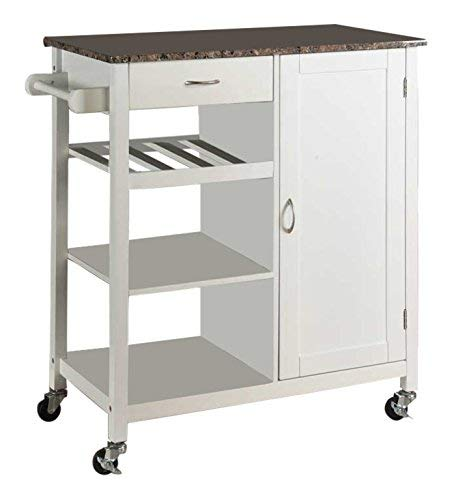 Marvelous Kings Brand White Finish Wood Marble Finish Top Kitchen Storage Cabinet Cart Download Free Architecture Designs Rallybritishbridgeorg