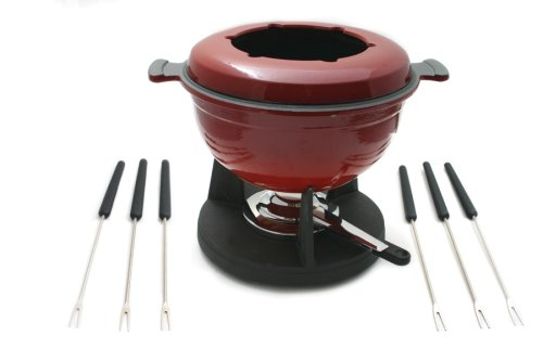 Lucerne 10-Piece Meat Fondue Set, Red Enameled Pot