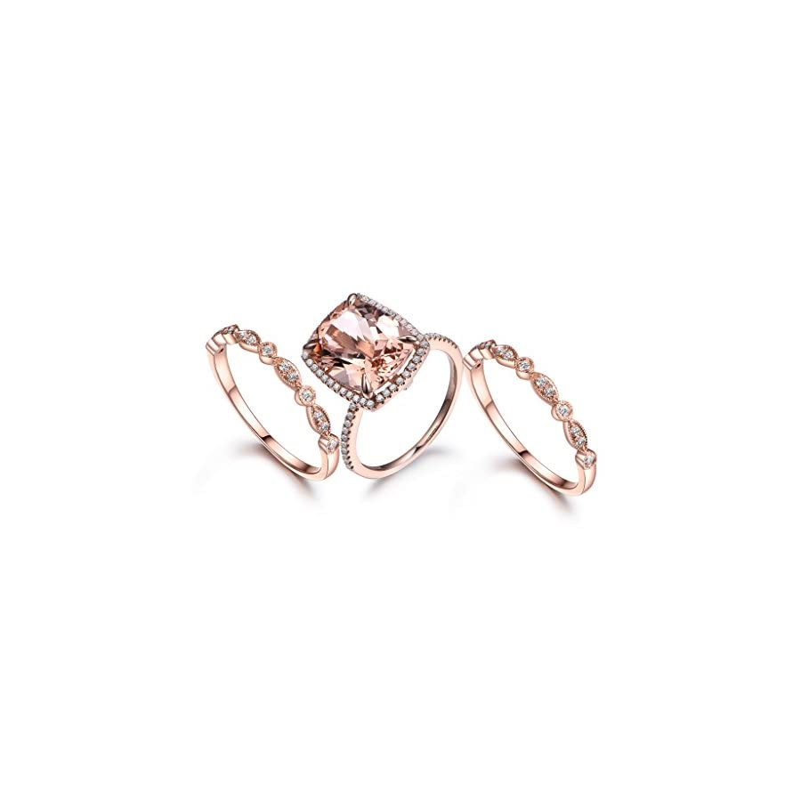 MYRAYGEM wedding ring sets 3pcs Morganite Engagement Ring Set,10x12mm Cushion Cut Pink Gemstone 14k Rose Gold Marquise Diamond Band
