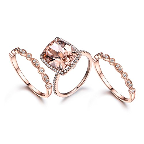 95e49449d43be3 MYRAYGEM-wedding ring sets 3pcs Morganite Engagement Ring Set ...
