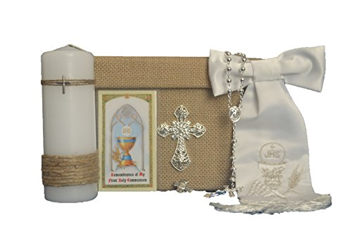 Holy First Communion All in One Boy 6 Piece Giftset Keepsake ENGLISH in SILVER Primera Comunion