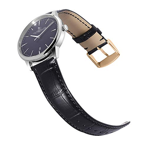 Watch Band 14mm 16mm 18mm 19mm 20mm 21mm 22mm 24mm Genuine Calf Leather Strap Replacement Silver/Gold/Rose Gold Clasp CHIMAERA ()
