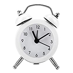 FTVOGUE Bell Alarm Clock 3 Portable Fashion Mini Metal Digital Clock with Battery Exquisite for Student Home(02)