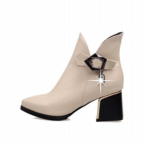 Carolbar Womens Fashion Elegance Buckle Rits Rhinestone Pendant Chunky Mid-hiel Jurk Laarzen Beige