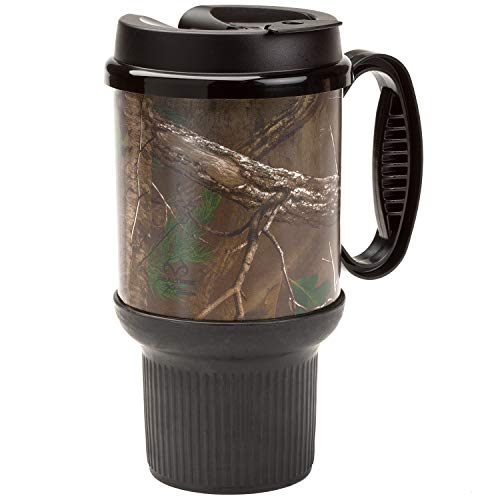RealTree Insulated 20 Ounce Gripper Travel Mug with Handle fits in Car Cup Holder, Camo