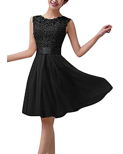 Eiffel Women's Lace Chiffon A-line Sleeveless Cocktail Formal Wedding Bridesmaid Short Mini Dress Skirt Black (Black Chiffon A-line)