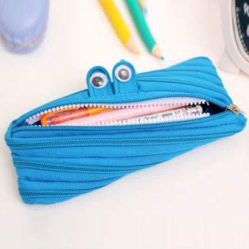 Single One Zip Pencil case Pen bag Kids School makeup pouch stationery Canvas (Color - Blue) ()