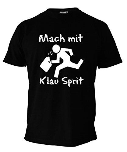 T-Shirt - Mach mit klau Sprit - Fun Shirt schwarz