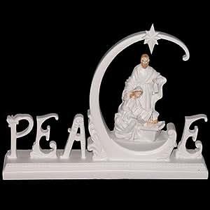 "Lightable ""Peace"" Christmas Nativity Scene Jesus Mary"