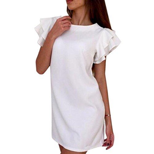 Ai.moichien Femmes Sans Manches Falbala V-back Mini Robe Blanche Décontractée