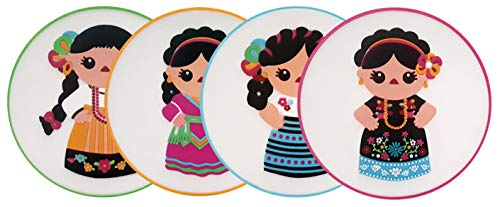 By Mexico India Maria Coasters for Drinks and Any Occasion - Silicon Coasters for Parties and Fiestas - Mexican Coasters with The Image of India Maria Traditional Mexican Clothes and Mexican Dress