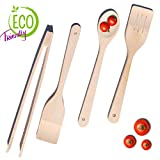 Wood Spatula Set - Kitchen Turner - 4 Piece Utensil Kit - Slotted Spatula - Serving Spoon - Tongs for Cooking - Tools for Nonstick Pans - Nonscratch Gadgets - Durable - Non Toxic Cookware – Unglued