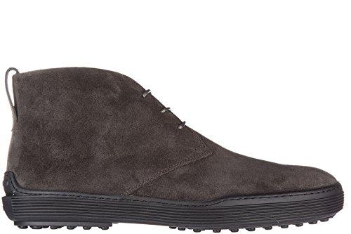 Tod's bottines demi-bottes homme en daim caoutchouc xf gris