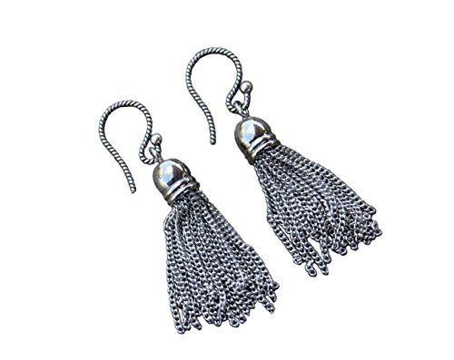 Domed Tassel (Antique Silver Tassel Earrings - Rhodium Plated Brass Chain Tassels on Antiqued Sterling Silver Hooks)