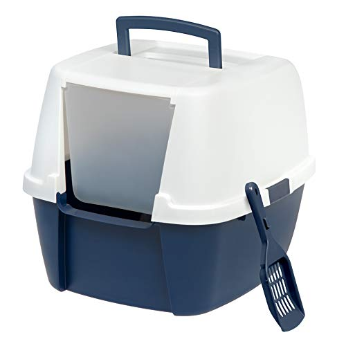 IRIS Jumbo Hooded Litter Box with Scoop, Navy (Square Covered Buckle)