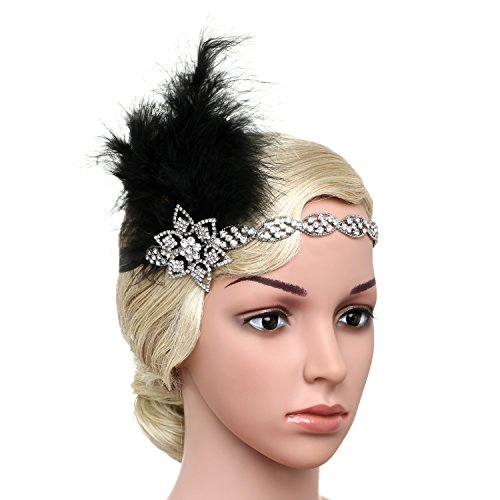 BABEY (Black And Gold Flapper Costumes Headband)