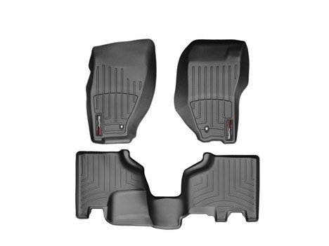 2010-2014 Jeep Liberty-Weathertech Floor Liners-Full Set (Includes 1st and 2nd Row)-Wirh Retention Device Installed-Black