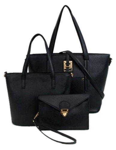 Mujer Asas Girly Handbags Para Material Negro Bolso Sintético De fwqPxpz0qa