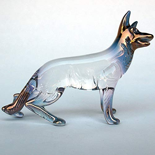 German Shepherd Figurine of Hand Blown Glass