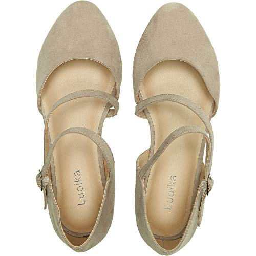 (Luoika Women's Wide Width Flat Sandals - Double Straps Pointy Toe Comfortable Summer Shoes.(181022,Beige,8))