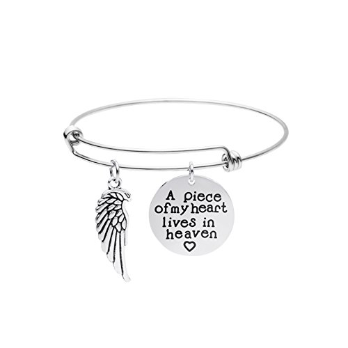 Miscarriage Remembrance Jewelry Personalized Memorial Bracelet A Piece of My Heart Lives in - Bracelet Silver Charm Angel