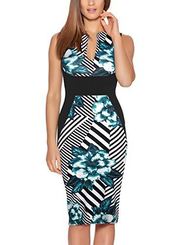 Fantaist Floral Dress,Deep V Neck Sheath Casual Summer Dresses for Wedding Guest (M, FT601-Green FL)