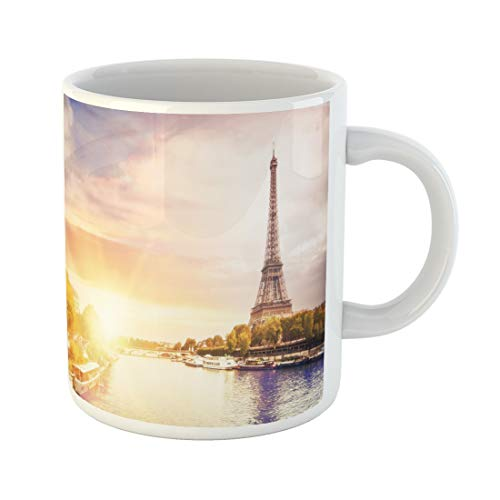 Emvency Funny Coffee Mug Blue Cruise Romantic Sunset Eiffel Tower with Boats on Seine River in Paris France 11 Oz Ceramic Coffee Mug Tea Cup Best Gift Or Souvenir ()