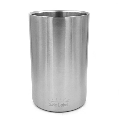 Wine Chiller Ice Bucket - Stainless Steel Double Walled Champagne Wine Tabletop Cooler With Brush Surface To Keep Wine Bottle Chilled & Insulated Large Buckets For Bar Home Restaurant 750ml Silver