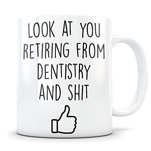 Dentist Retirement Gifts for Men and Women Happy and Retired Coffee Mug as a Dental Congratulations Funny Gag Retire Cup for Someone Retiring from Dentistry