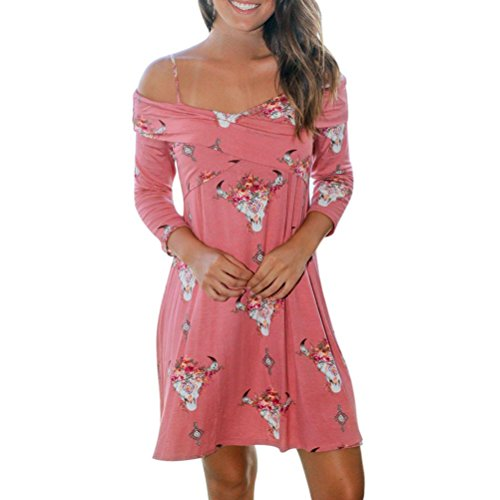 Kimloog Women Floral Print Off Shoulder Straps 3/4 Sleeve Casual Short Mini Wrap Mini Dress (L, Pink)