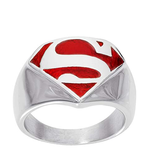 DC Comics Mens Stainless Steel Justice League Superhero Logo Ring Jewelry, Superman Red, Size 8