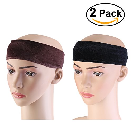 Price comparison product image OULII Velvet Wig Grip Band Comfort Head Hair Band Adjustable Hair Fasterner Gifts for Mothers, pack of 2 (Brown and Black)