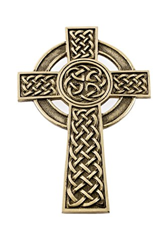 Pewter Knotted Celtic Wall Cross with Antique Gold Tone Finish, 5 Inch