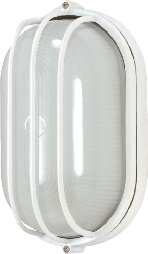 Nuvo Lighting 60/568 Bulkhead 1-Light Oval Cage Energy Star CFL, Semi Gloss (Light Fixtures Oval Bulkhead Cage)