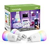 Novostella B22 LED RGB Light Bulb, 12W Brightest Smart WiFi Bayonet Bulb, Dimmable Tunable White, Work with Alexa Google Home IFTTT (RGBCW, 100W Hal Bulb Equivalent, 1150lm, 3 Pack, No Hub Required)