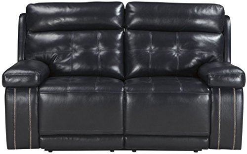 Ashley Furniture Signature Design – Graford Leather Power Loveseat w/Adjustable Headrest – Contemporary – Navy Review