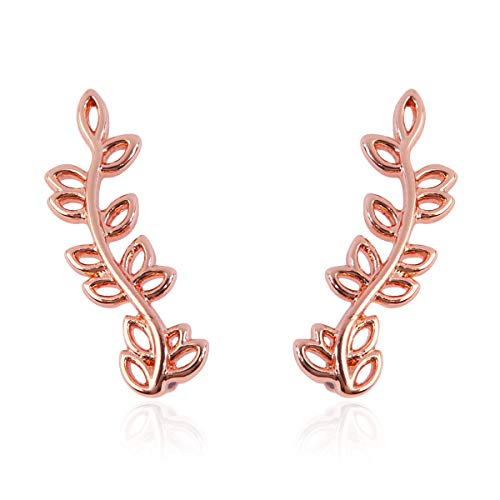RIAH FASHION Simple Botanical Delicate Climber Earrings - Delicate Curved Metallic Ear Crawler Cuff Threader Stud Laurel Leaf/Petal/Branch (Cutout Leaf - Rose Gold) - Curved Cut Out Pull