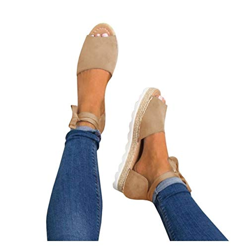 (Fashare Womens Espadrilles Tie up Flat Sandals Peep Toe Classic Cutout D'Orsay Dress Shoes Khaki)