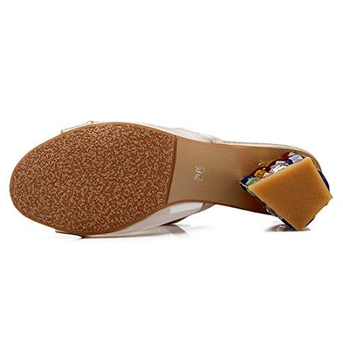 YE Damen Chunky Heels Pantoletten Slingback Peep Toe High Heels mit Glitzer Strass Blockabsatz Modern und Bequem Freizeit Schuhe Golden